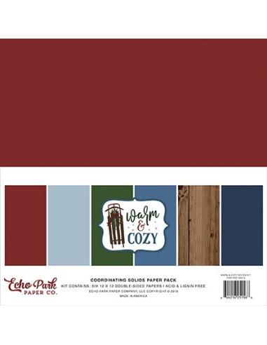 Kit 12´ Echo Park Warm & Cozzy, colores sólidos