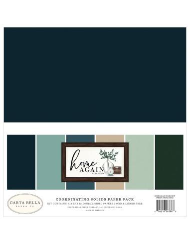 Kit 12´ Echo Park Home Again, colores sólidos