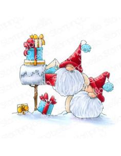 Sello Stampingbella Christmas card gnomes