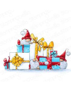 Sello Stampingbella Gnomes with presents
