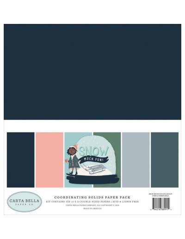 Kit 12´ Carta Bella Snow Much Fun, colores sólidos