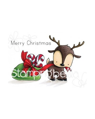 Sello Stampingbella reindeer with gift Stuffie