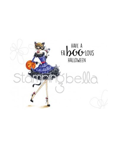 Sello Stampingbella Uptown Girl, Kitty loves Halloween
