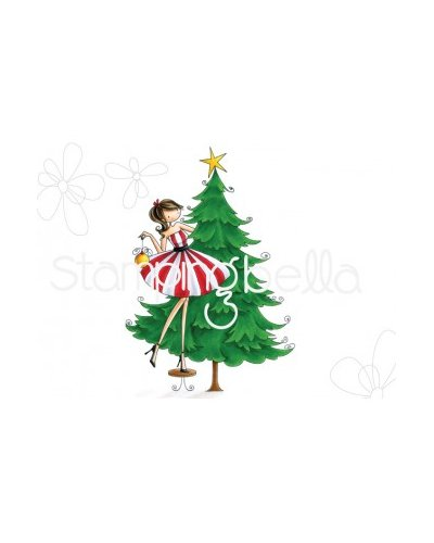 Sello Stampingbella Uptown Girls tina Trims the Tree