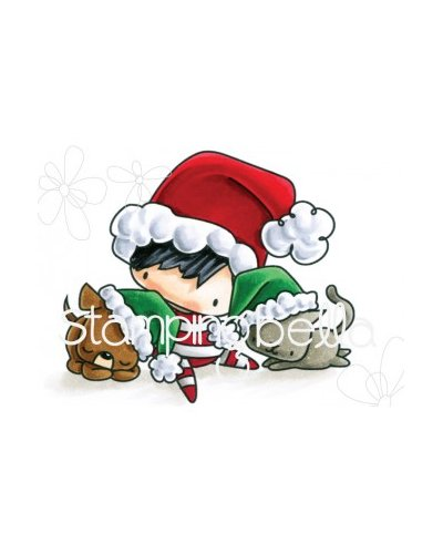 Sello Stampingbella Littles Christmas boy with pets