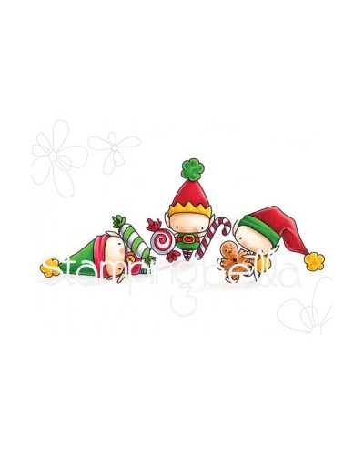 Sello Stampingbella Littles Elves with treats
