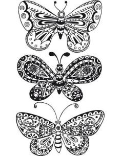Sello Madera mariposas