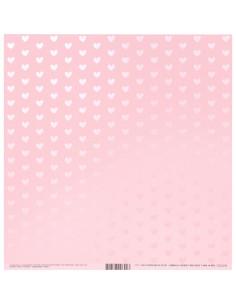 Papel rosa corazones brillo
