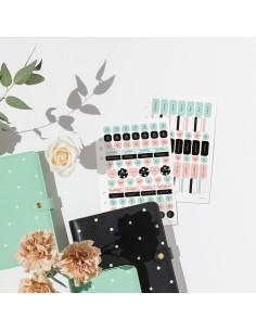 Set de pegatinas Rosa/Mint para tu agenda de 6 anillas