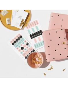 Set de pegatinas Rosa/Mint para tu agenda de 6 anillas A 6