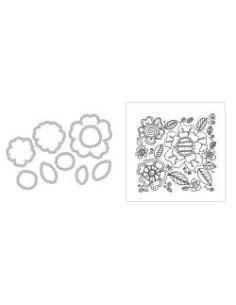 Framelits + sello fondo floral