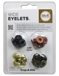 "Wide Eyelets 3/16"" warm metal"