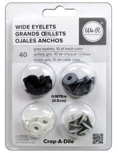 """Wide Eyelets 3/16"""" grises"""