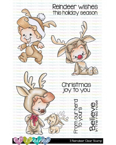 C.C. Designs sello 3 reindeers