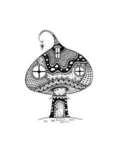 sello Zen Large Mushroom House de lavinia stamps