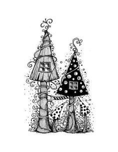 sello Fairy House de lavinia stamps