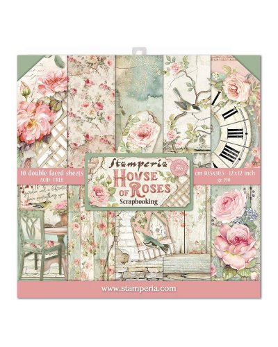 kit de papeles house of roses stamperia