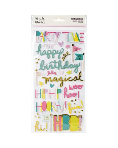 pegatinas foam magical birthday de simple stories