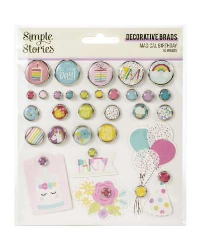 brads decorativos magical birthday de simple stories