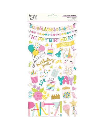 chipboard de magical birthday de simple stories