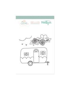 Sello Caravana con flores de Mintopia