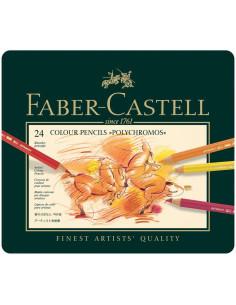 Juego de lápices de colores Polychromos en lata de metal, 24 pzas de faber castell