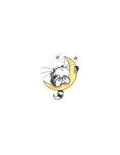 Sello de goma montado Gato en la luna Penny Black