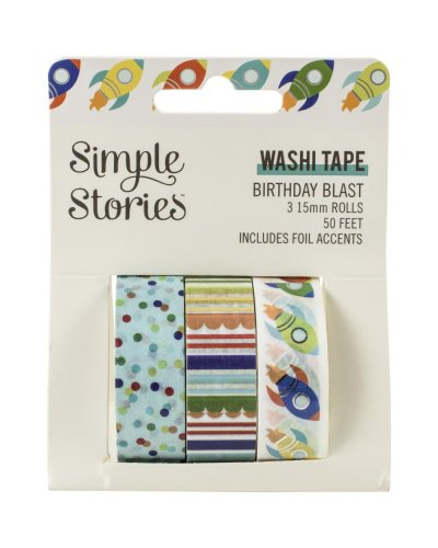 washi tape Birthday Blast simple stories
