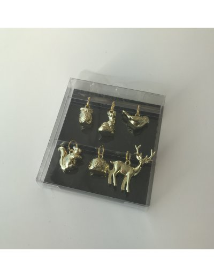 set de 6 colgantes de animales dorados