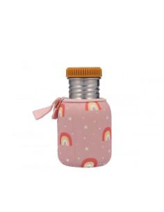 Botella Acero con Funda Arcoiris rosa 350ml