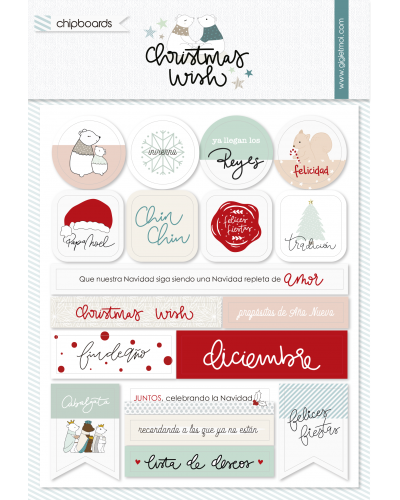 Chipboard Christmas wish de Gigietmoi