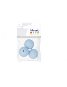 Perlas de silicona 15mm azul bebé