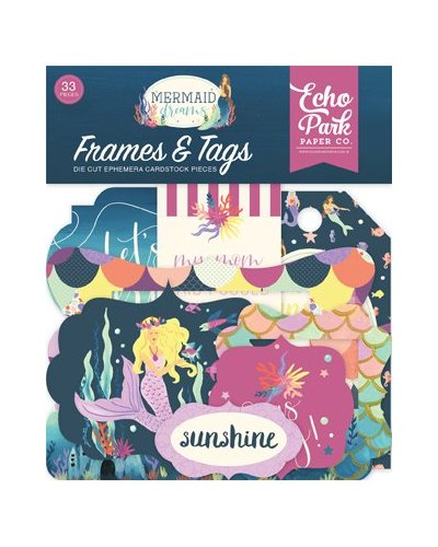 Troquelados frames & tags Mermaid dreams de Echo Park