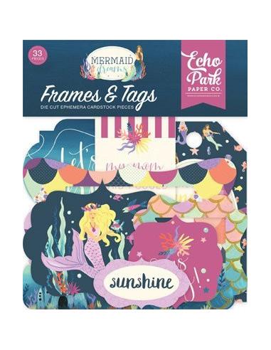 Troquelados frames & tags Mermaid dreams de Echo Park