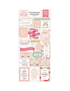 Chipboard Phrases Welcome Baby Girl de Echo Park