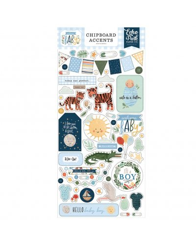 Chipboard Accents Welcome Baby Boy de Echo Park