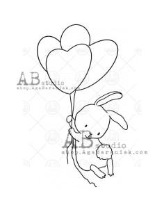Sello Bunny with balloons de AB Studio