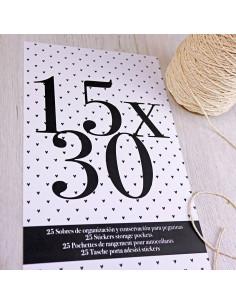 Bolsa organización 15x30cm alfabetos y pegatinas