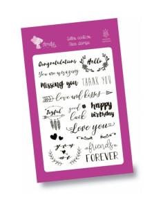 Set de sellos transparentes Felicitaciones inglés Amelie Prager