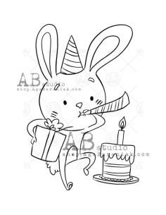 Sello de caucho birthday hare ID-1035 de AB Studio