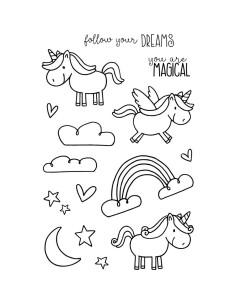 Sello janesdoodles - unicorn