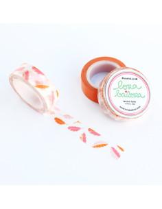 Washi Lora plumas, rosas,naranjass