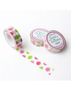 Washi Lora manzanitas, rosas/verdes
