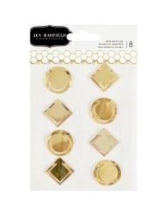 Clips dorados forma circulo y cuadrado Jen Hadfield