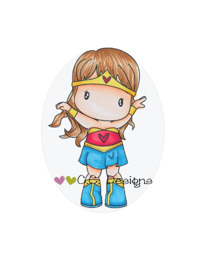 C.C. Designs sello caucho super girl